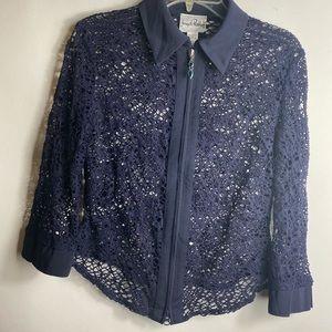 joseph ribkoff Womens Blouse Sz 8 Navy blue Color